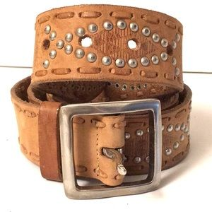 """Buckle raw finish leather studded belt XL EUC 44"""""""